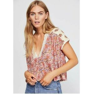 Free People Blouse Crochet Mixed-Print Crop Top